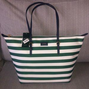 NWT Ralph Lauren Nylon Tote Green Clover Stripe